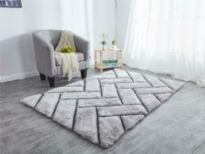 NEW 3D PLANK HAND CARVED APPROX 8X5FT 160X230CM GREAT QUALITY 3D RUG SILVER GREY